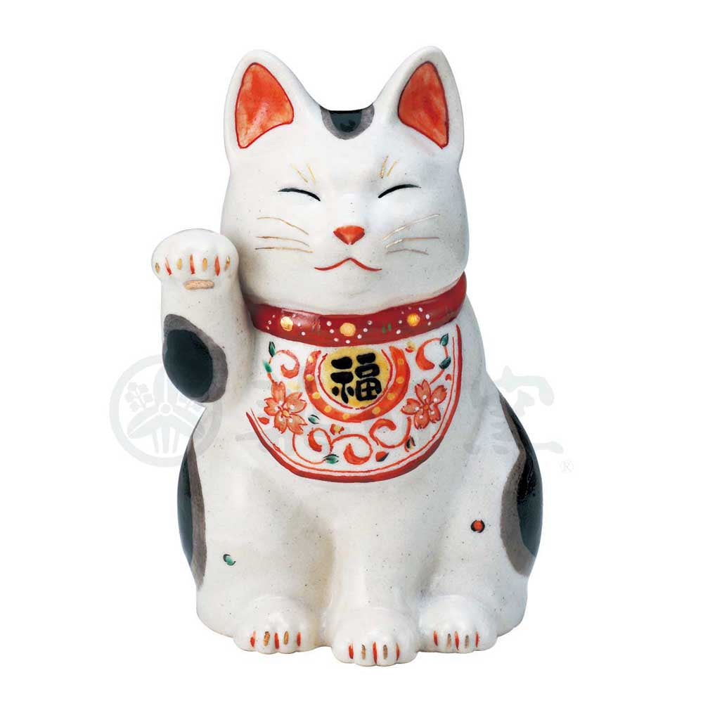 Maneki-neko with Arabesque Apron, H21cm, Dilute Calico Cat, Right Paw Up, Invites Good Luck, Lucky Cat / Fortune Cat