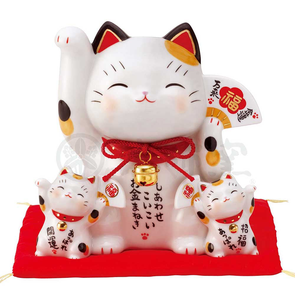 Family of 3 Maneki-neko Piggy Bank, H15cm, Calico Cat, Right Paw Up, Invites Money, Invites Good Luck, Lucky Cat / Fortune Cat
