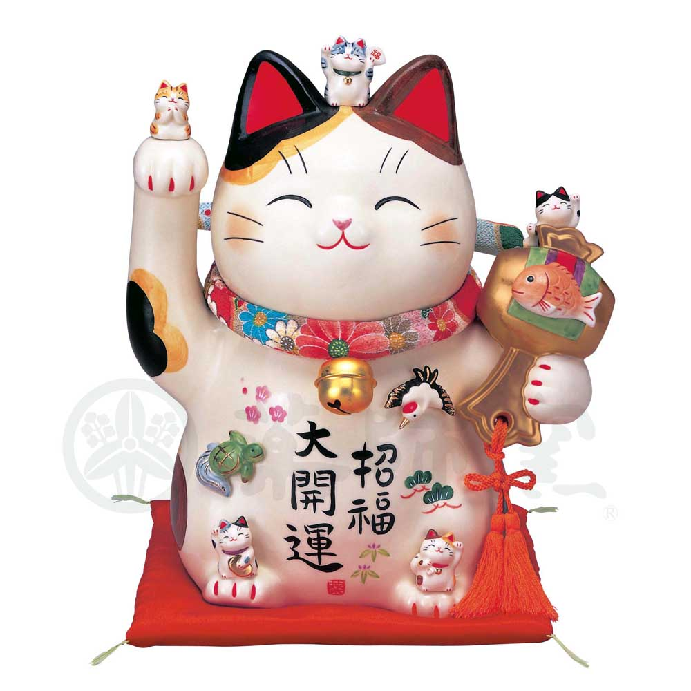 Maneki-neko with Chirimen Collar, H26.5cm, Calico Cat, Right Paw Up, Invites Good Luck, Better Fortune, Lucky Cat / Fortune Cat