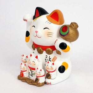 Family of 6 Maneki-neko Piggy Bunk, H11.5cm, Calico Cat, Right Paw Up, Invites Money, Customers, Big Win