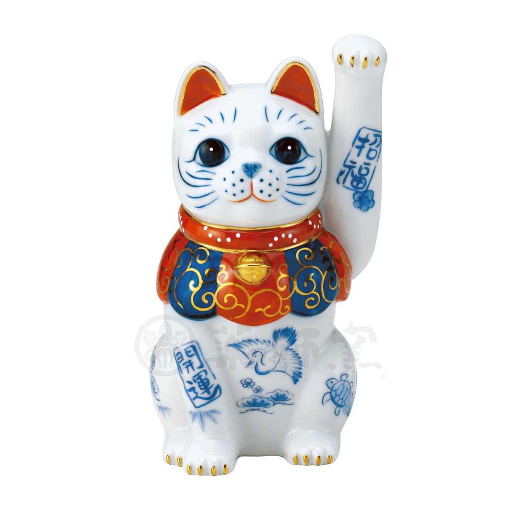 Maneki-neko, H14.5cm, White Cat, Left Paw Up High, Better Fortune, Invites Good Luck, Lucky Cat / Fortune Cat