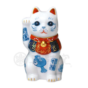 Maneki-neko, H8cm, Blue and White Cat, Right Paw Up, Invites good luck, Better Fortune, Lucky Cat / Fortune Cat