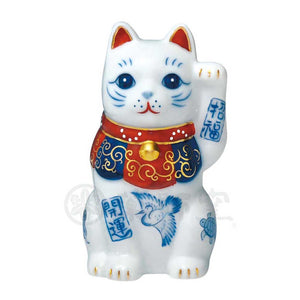 Maneki-neko, H8cm, Blue and White Cat, Left Paw Up, Invites good luck, Better Fortune, Lucky Cat / Fortune Cat