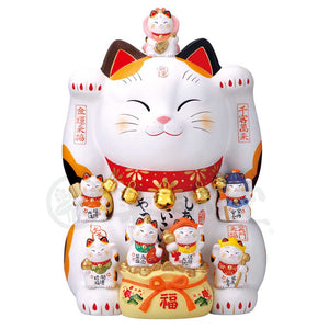 Maneki-neko with Seven Lucky Gods, H60cm, Calico Cat, Both Paws Raised, Business Prosperity, Store Opening Gifts