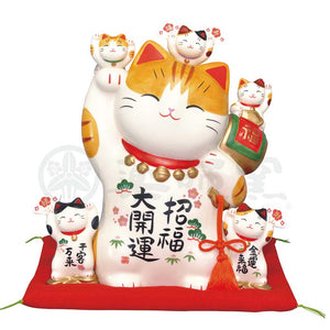 Maneki-neko Piggy Bank, H27cm, Orange Tabby Cat, Right Paw Up, Invites Good Luck, Better Fortune, Lucky Cat / Fortune Cat