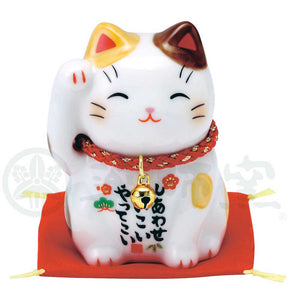 Maneki-neko, H6cm, Brown and White Bicolor Cat, Right Paw Up, Invites Happiness, Lucky Cat / Fortune Cat