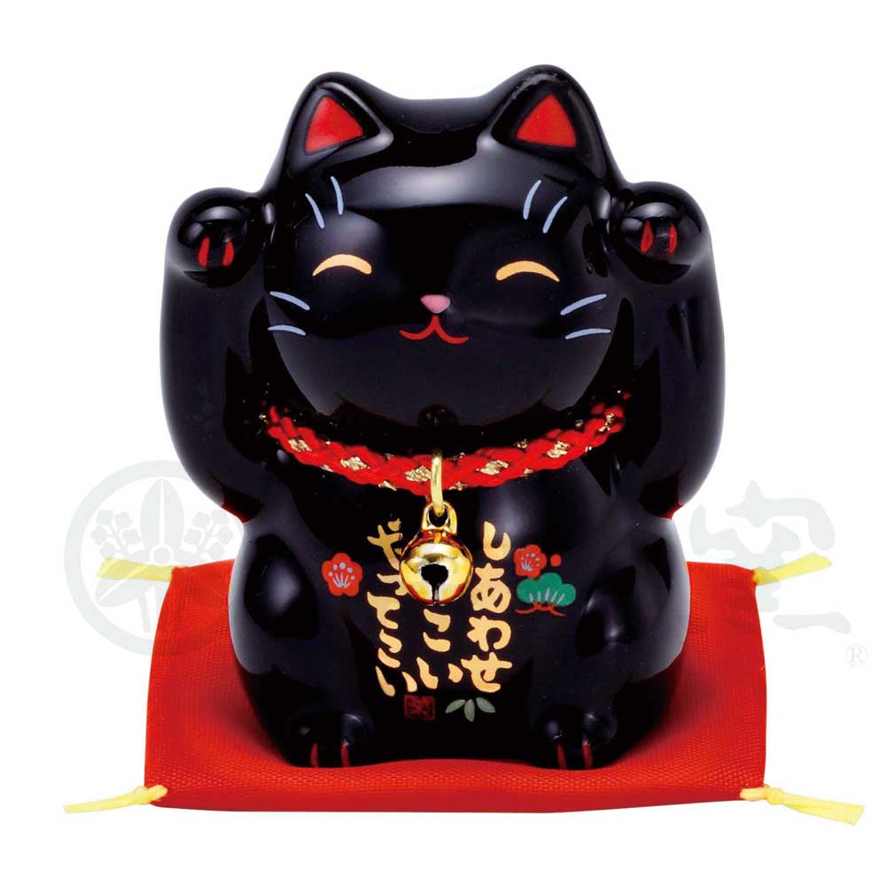 Maneki-neko, H6cm, Black, Both Paws Raised, Invites Happiness, Ward off evil, Lucky Cat / Fortune Cat