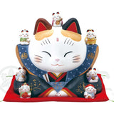 Fukusuke Maneki-neko with Seven Lucky Gods, H22cm, Piggy Bank, Calico Cat, Bringer of Good Luck, Store Opening Gifts