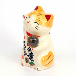 Maneki-neko with Crystal Ball, H9cm, Orange Tabby, Right Paw Up, Invites Money, Economic Fortune, Lucky Cat / Fortune Cat