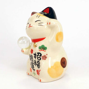 Maneki-neko with Crystal Ball, Invites Luck, Left Paw Up, Calico Cat, Lucky Cat / Fortune Cat, Prosperity
