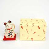 Maneki-neko with Crystal Ball, H9cm, Calico Cat, Left Paw Up, Invites Good Luck, Better Fortune, Lucky Cat / Fortune Cat