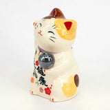 Maneki-neko with Crystal Ball, H9cm, Brown and White Bicolor Cat, Right Paw Up, Invites Wellness, Lucky Cat / Fortune Cat