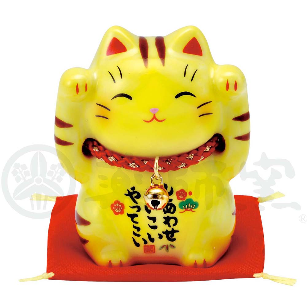 Maneki-neko, H6cm, Yellow Tabby Cat, Both Paws Raised, Invites Happiness, Lucky Cat / Fortune Cat