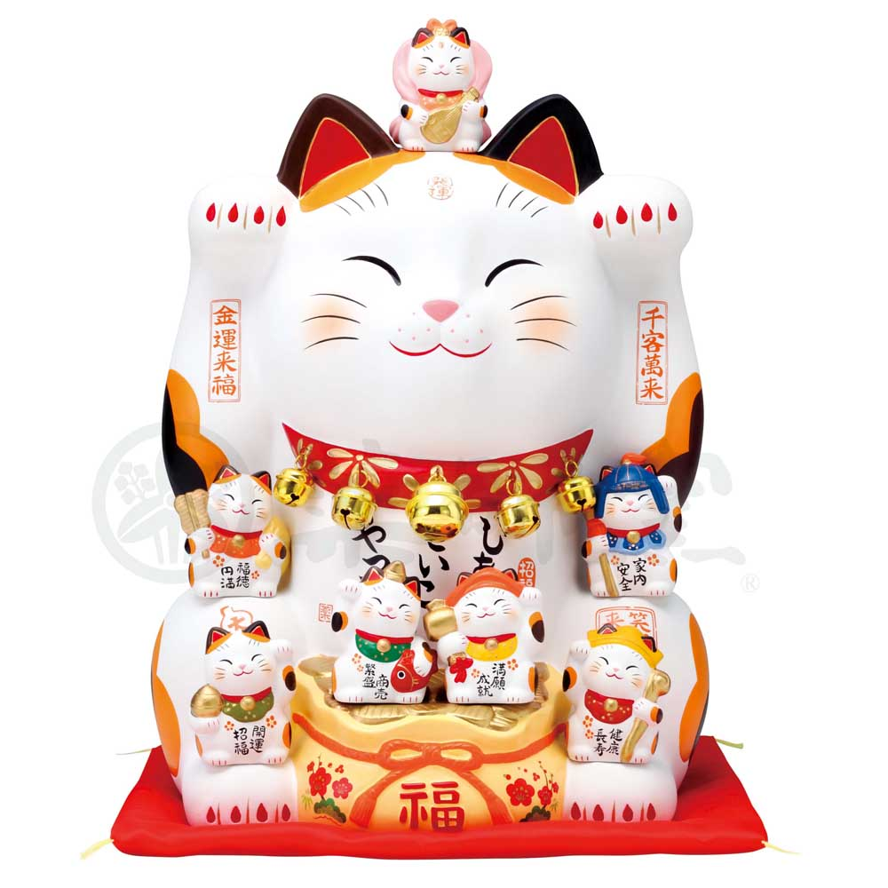 Maneki-neko with Seven Lucky Gods, H35cm, Calico Cat, Both Paws Raised, Business Prosperity, Store Opening Gifts
