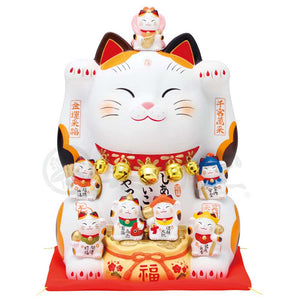 Maneki-neko with Seven Lucky Gods, H25.5cm, Calico Cat, Both Paws Raised, Business Prosperity, Store Opening Gifts