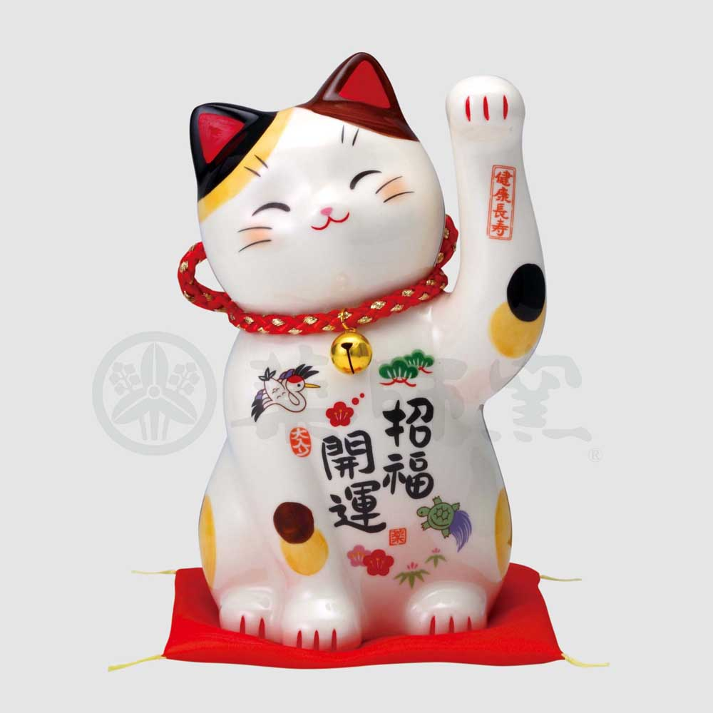 Maneki-neko Piggy Bank, H18.5cm, Calico Cat, Left Paw Up, Invites Good Luck, Better Fortune, Lucky Cat / Fortune Cat