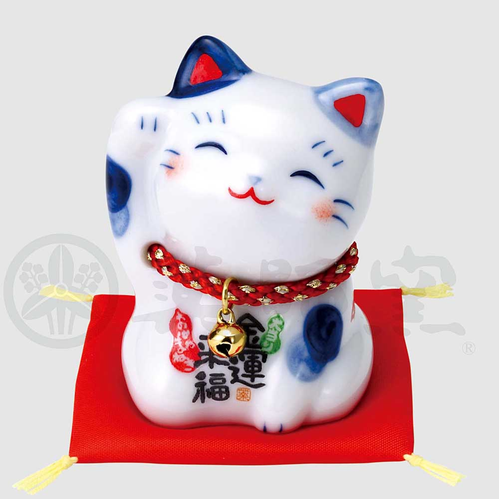 Maneki-neko, H6cm, Blue and White Cat, Right Paw Up, Invites Money, Lucky Cat / Fortune Cat