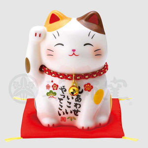 Maneki-neko, H9cm, Brown and White Bicolor Cat, Right Paw Up, Invites Happiness, Lucky Cat / Fortune Cat