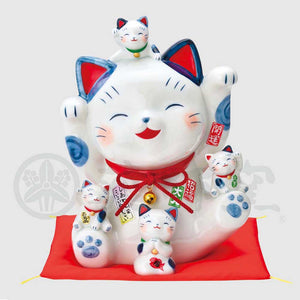 Parent and Child Maneki-neko Piggy Bank, H25.5cm, Blue and White Cat, Both Paws Raised, Invites Good Luck, Lucky Cat / Fortune Cat