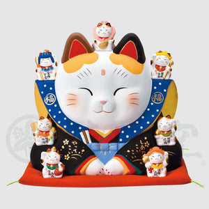 Fukusuke Maneki-neko with Seven Lucky Gods, H30cm, Calico Cat, Bringer of Good Luck, Store Opening Gifts