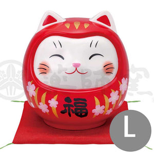 Lucky Neko-Daruma Piggy Bunk, H14cm, Red, Better Fortune, Pass an Exam, Store Opening Gifts, Lucky Cat / Fortune Cat