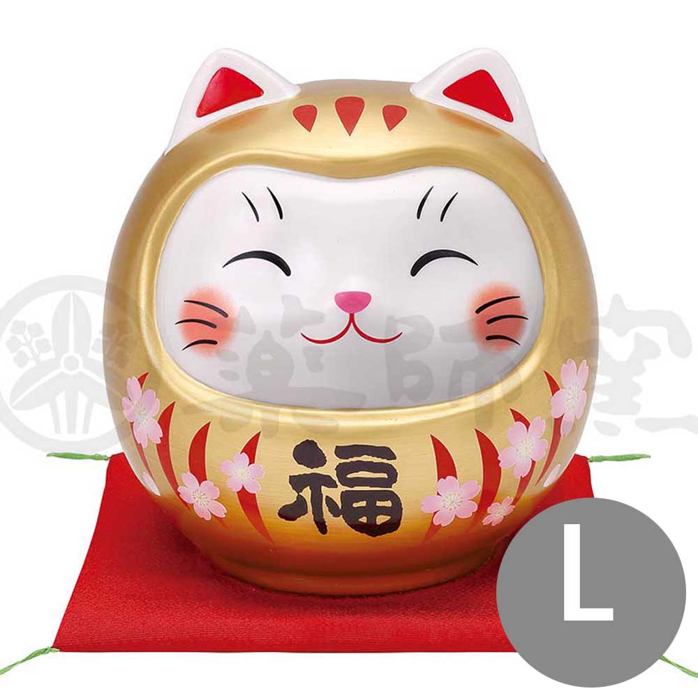 Lucky Neko-Daruma Piggy Bunk, H14cm, Gold, Better Fortune, Pass an Exam, Store Opening Gifts, Lucky Cat / Fortune Cat