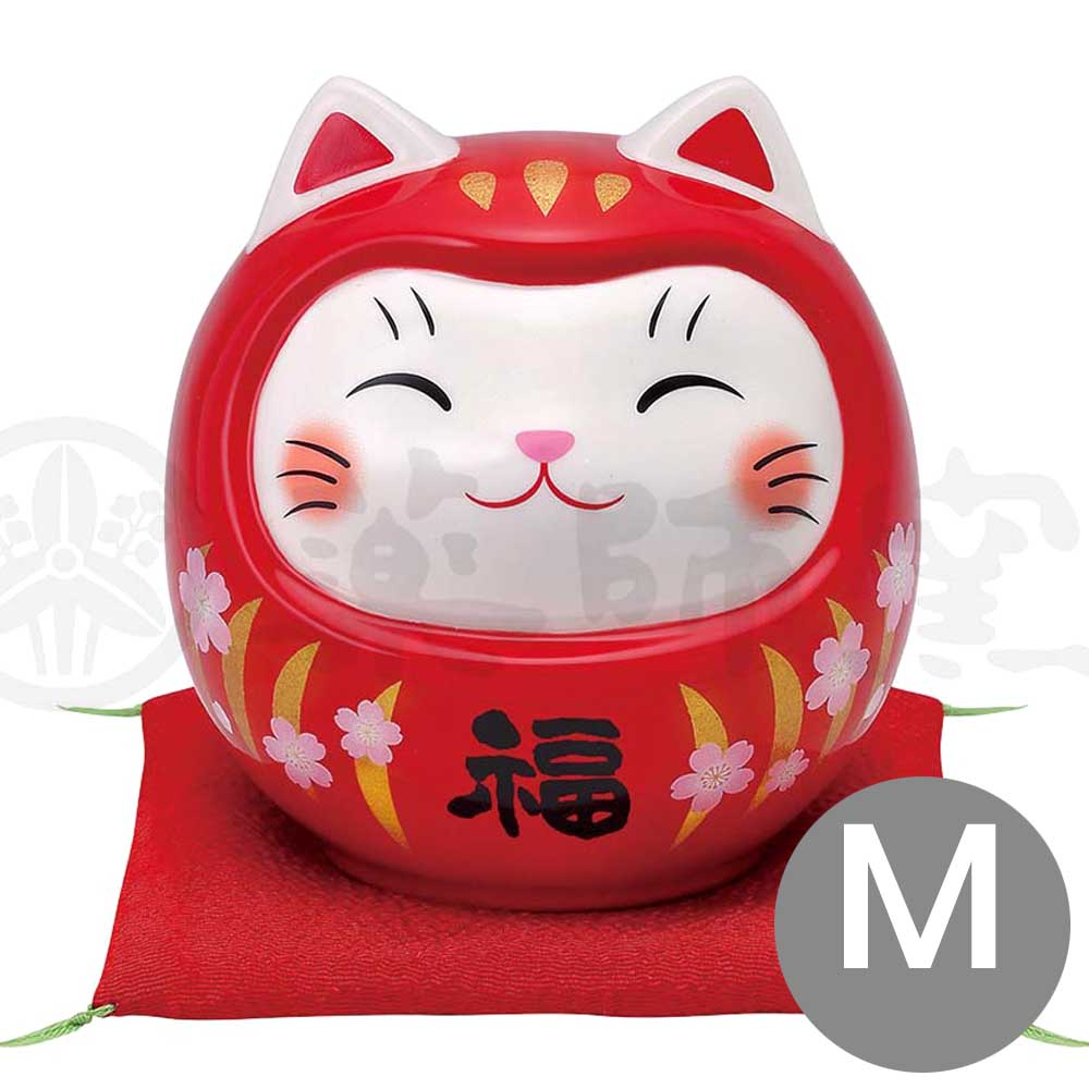 Lucky Neko-Daruma Piggy Bunk, H9.5cm, Red, Better Fortune, Pass an Exam, Store Opening Gifts, Lucky Cat / Fortune Cat