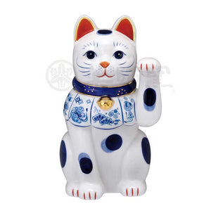 Maneki-neko, H25.5cm, Blue and White Cat, Left Paw Up, Invites Good Luck, Lucky Cat / Fortune Cat