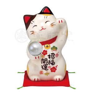 Maneki-neko with Crystal Ball, H12cm, Calico Cat, Left Paw Up, Invites Good Luck, Better Fortune, Lucky Cat / Fortune Cat