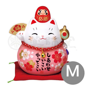 Daruma Maneki-neko Piggy Bunk, H11.5cm, Pink, Right Paw Up, Pass an Exam, Invites Happiness, Lucky Cat / Fortune Cat