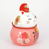 Daruma Maneki-neko, H9cm, Pink, Right Paw Up, Pass an Exam, Invites Happiness, Lucky Cat / Fortune Cat
