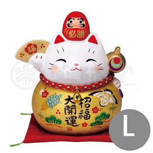 Daruma Maneki-neko Piggy Bunk, H14.5cm, Gold, Right Paw Up, Pass an Exam, Invites Good Luck, Better Fortune, Lucky Cat / Fortune Cat