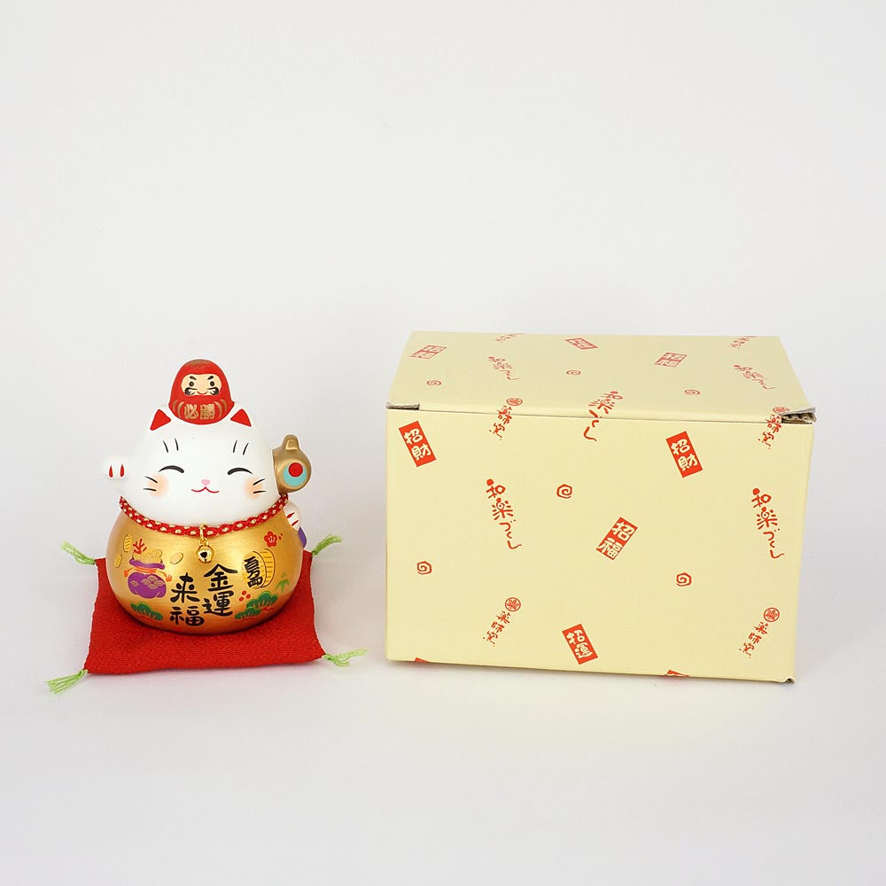 Daruma Maneki-neko, H9cm, Gold, Right Paw Up, Pass an Exam, Invites Money, Economic Fortune, Lucky Cat / Fortune Cat
