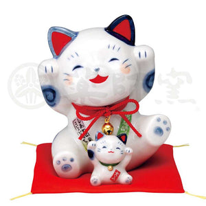 Parent and Child Maneki-neko, H13cm, Blue and White Cat, Both Paws Raised, Invites Good Luck, Lucky Cat / Fortune Cat