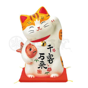 Maneki-neko with Luckyfish, H12cm, Orange Tabby, Left Paw Up, Invites Customers, Lucky Cat / Fortune Cat