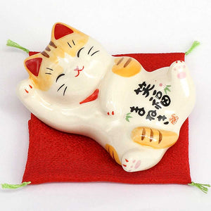 Maneki-Neko Lying Down, H4cm, Orange Tabby, Right Paw Up, Invites Happiness, Lucky Cat / Fortune Cat
