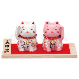 Sakura Maneki-neko, H6cm, White Cat, Right Paw Up, Invites Money / Pink Cat, Left Paw Up, Invites Love Luck