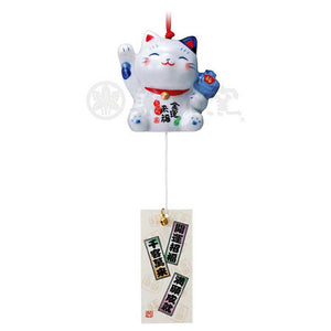 Maneki-neko Wind Chime with Lucky Hammer, Blue & White Cat, Right Paw Up, Invites Money, Ward off bad luck