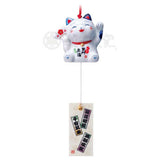 Maneki-neko Wind Chime with Lucky Fan, Blue & White Cat, Left Paw Up, Invites People, Ward off bad luck