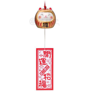 Lucky Neko-Daruma Wind Chime, Gold, Ward off bad luck