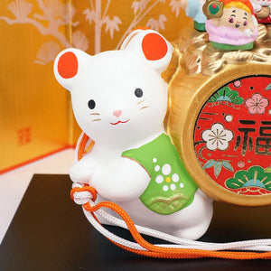 Japanese Zodiac Rat Ornament, Carrying Seven Lucky Gods & Lucky Hammer, Year of the Rat Ornament