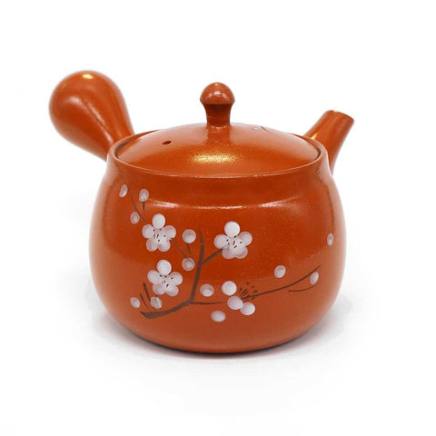 Japanese Ceramic Kyusu Teapot, 280ml, Vermilion, White Plum