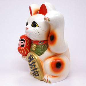 Traditional Maneki-neko with Daruma & Gold Coin