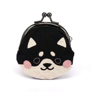 Animal Snap Lock Purse - Shiba Inu Black