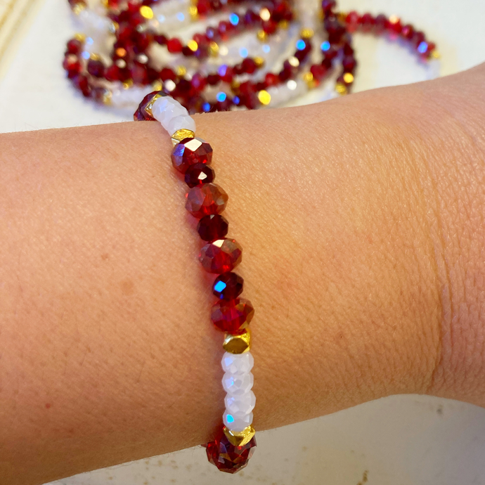 Holiday White Red & Gold Bracelet