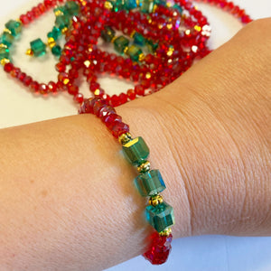 Holiday Red w/ Green Cube Beads