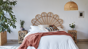 Daisy Rattan Headboard with Peacock Bedside Cabinets and Sarah Lampshade in Natural Rattan - The Rattan Company