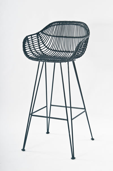 Java Black Rattan Bar Stool Front - The Rattan Company