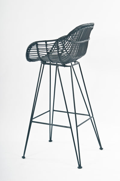 Java Black Rattan Bar Stool Side - The Rattan Company