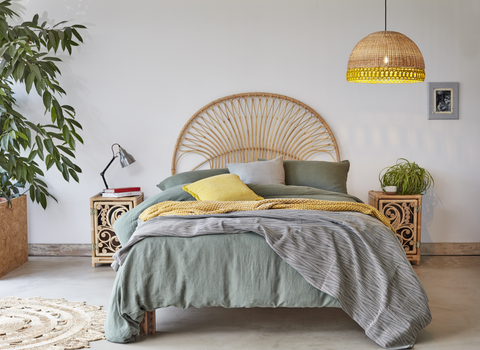 Kingsize Bali Natural Rattan Headboard with Peacock Cupboards and Mustard Sarah Lampshade - The Rattan Company